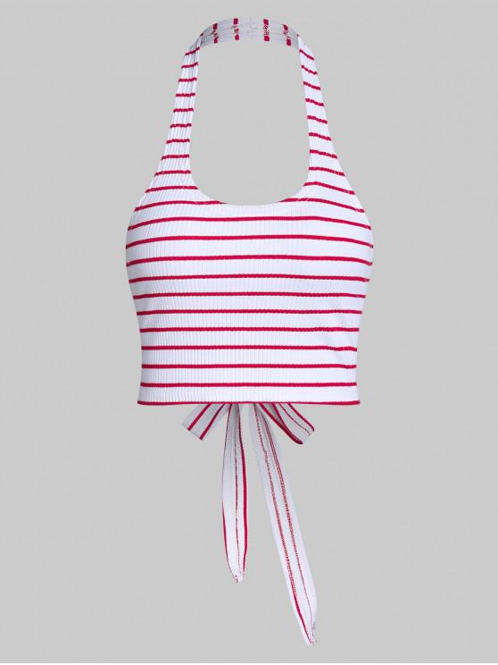 ZAFUL Halter Stripe Backless Knotted Crop Top - Multi-a L