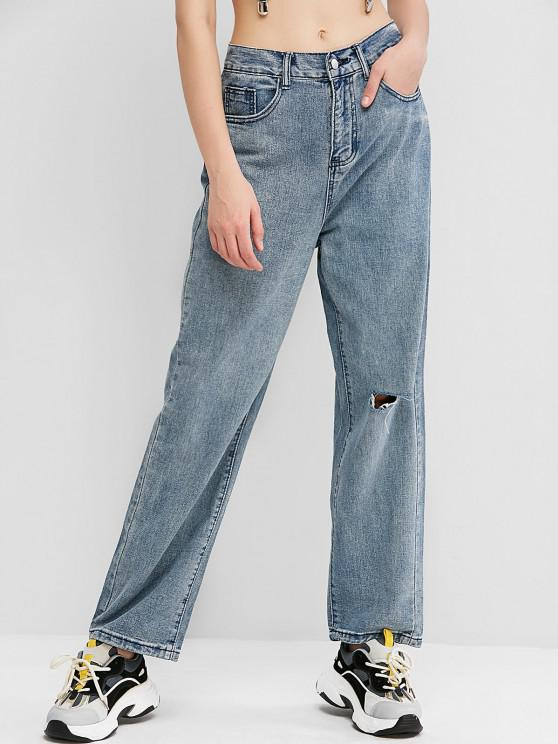 hot Knee Ripped High Waisted Wide Leg Jeans - JEANS BLUE L