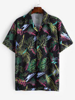 Short Sleeve Graffiti Leaf Print Button Casual Shirt - Black 2xl