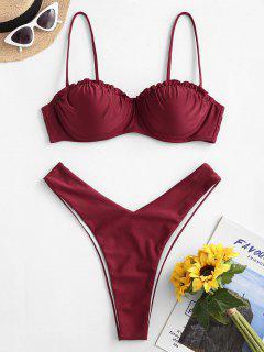 Bikini Lucido Di ZAFUL A Taglio Alto - Vino Rosso M