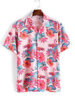 Flamingo Tropical Flower Leaf Print Short Sleeve Vacation Shirt - Pink M