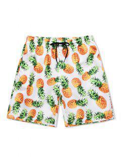 Pineapple Print Drawstring Causal Shorts - White Xl