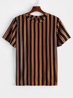 ZAFUL T-shirt De Manga Curta Listrado De Impressão - Cor De Laranja De Tigre S
