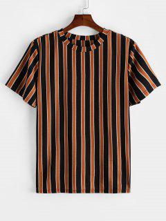 ZAFUL Colorblock Striped Print Short Sleeve T-shirt - Tiger Orange L