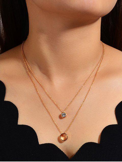 Горный хрусталь Многослойное Ожерелье С подвеской Круг - Золотой  Mobile