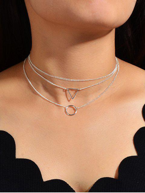 Геометрическое Многослойное Цепное Ожерелье Кольцо - Серебристый  Mobile