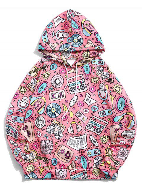 袋鼠口袋音樂元素印花套衫休閒連帽衫 - 火烈鳥粉紅色 L Mobile