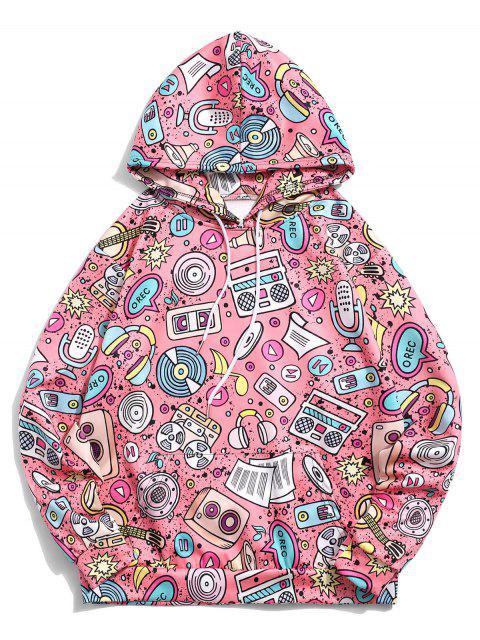 袋鼠口袋音樂元素印花套衫休閒連帽衫 - 火烈鳥粉紅色 XL Mobile