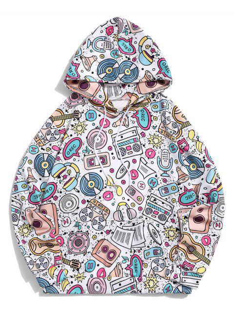 袋鼠口袋音樂元素印花套衫休閒連帽衫 - 白色 XL Mobile