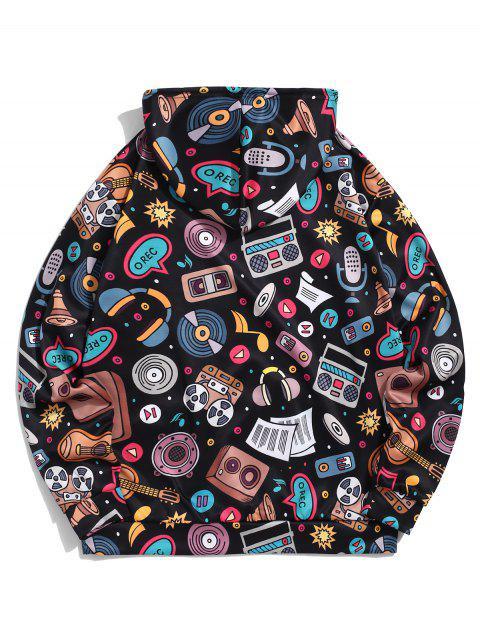 袋鼠口袋音樂元素印花套衫休閒連帽衫 - 黑色 M Mobile