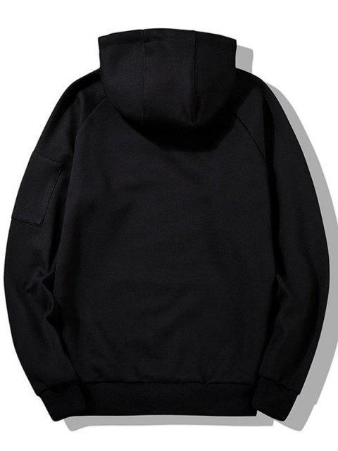 信圖形打印小袋連帽衫 - 黑色 S Mobile