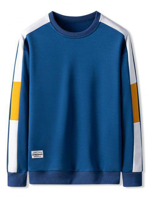 撞色拼色休閒運動衫 - 藍莓藍 XS Mobile