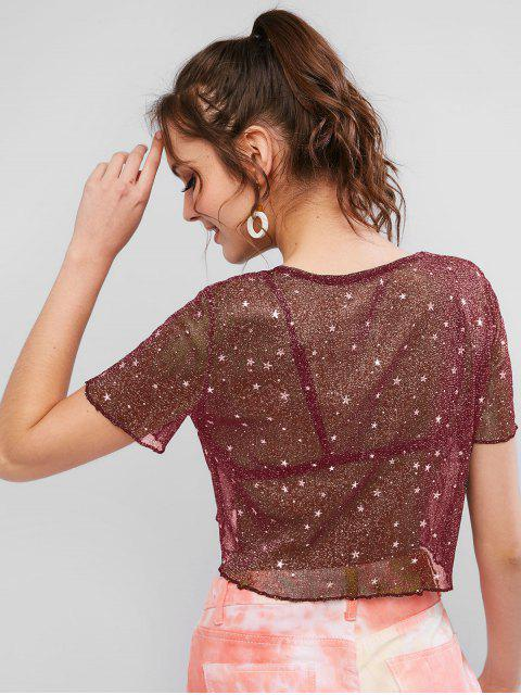 womens See Thru Shiny Stars Cropped Tee - RED WINE L Mobile