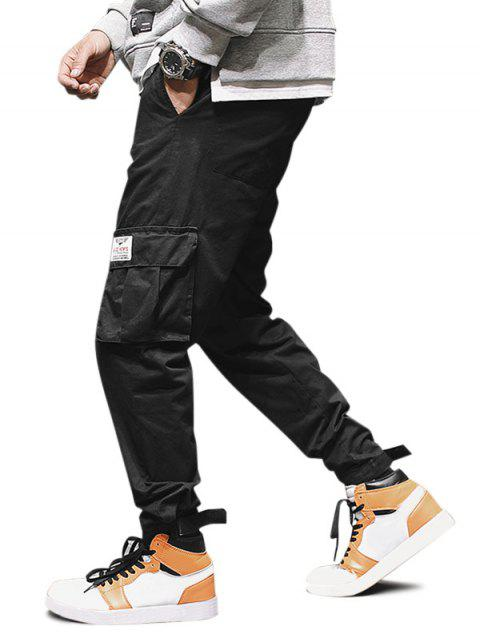 hot Solid Applique Multi-pocket Cargo Jogger Pants - BLACK S Mobile