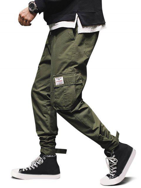 固體貼花多口袋貨物慢跑褲 - 迷彩綠色 M Mobile