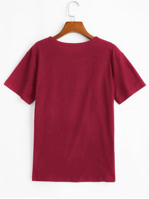 ladies Short Sleeve Blessed Heart Graphic Basic Tee - RED WINE XL Mobile