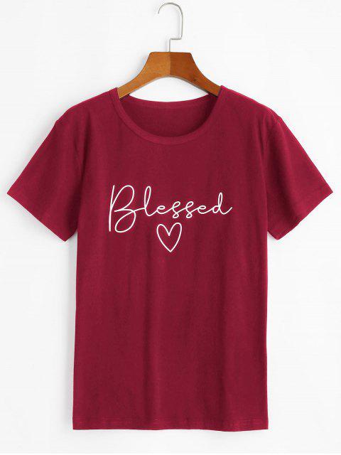 T-shirt de BaseCœurGraphiqueàManchesCourtes - Rouge Vineux M Mobile