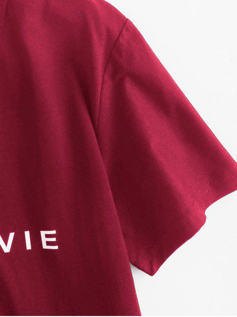 chic Short Sleeve Graphic Basic Tee - RED WINE XL Mobile