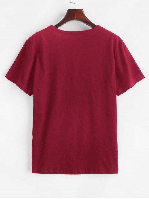 women Short Sleeve Graphic Basic Tee - RED WINE S Mobile