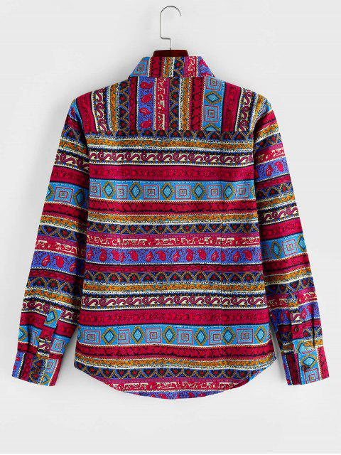 Camisa de Manga Larga con Botones de Impreso Tribal - Multicolor XL Mobile