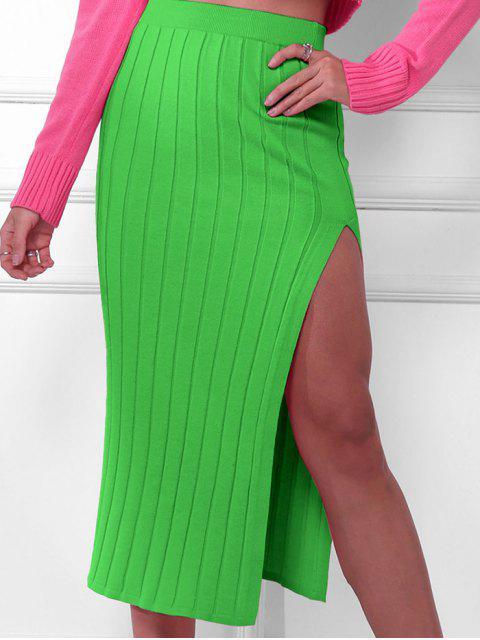 Falda Ceñido de Punto con Abertura Alta - Verde S Mobile