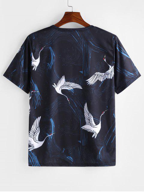 飛鶴打印短袖T卹 - 深藍板岩 4XL Mobile