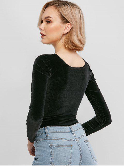 lady Snap Button Criss Cross Velvet Bodysuit - BLACK L Mobile