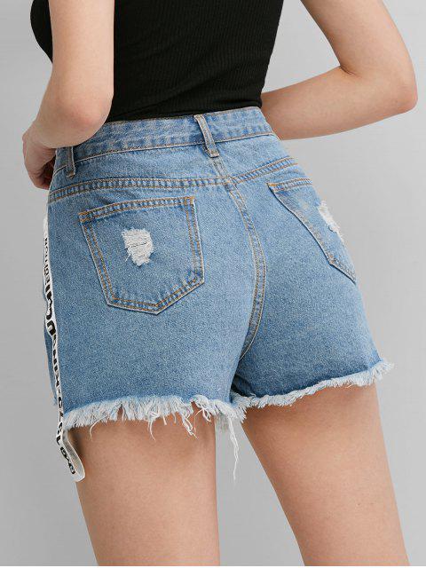 ZAFUL Shorts de Denim Desgastados con Letras - Azul XL Mobile