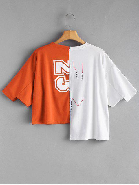 文字柄コントラスト非対称Tシャツ - オレンジ ワンサイズ Mobile