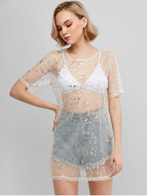 ZAFUL T-shirt Long Etoilé Brillant en Maille Transparente - Blanc S Mobile