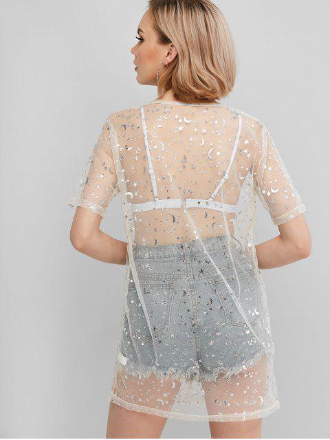 sale ZAFUL Sparkly Starry Sheer Mesh Long T-Shirt - WHITE L Mobile