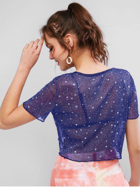 T-shirt Court Brillant Etoile Transparent - Bleu Lapis XL Mobile
