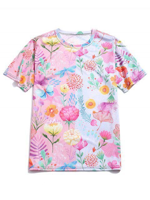 online Flower Allover Print Short Sleeve T-shirt - PINK XL Mobile