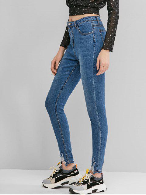 Jeans Desgastados Cremallera Lavado - Azul de Jeans  S Mobile