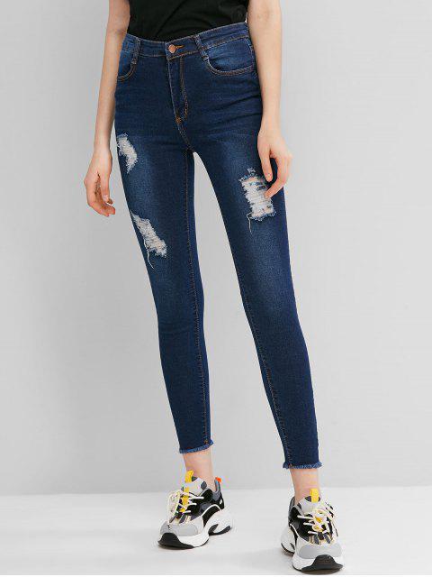 Jeans Rasgados Flacos Deshilachados de Motorista - Azul de Jeans  L Mobile