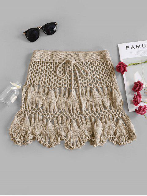 latest Scalloped Edge Crochet Skirt - LIGHT KHAKI S Mobile
