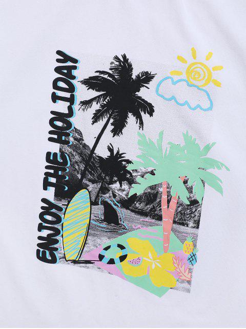 T-shirt de Manga Curta com Padrão de Palmeira - Branco 2XL Mobile