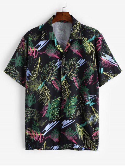 new Short Sleeve Graffiti Leaf Print Button Casual Shirt - BLACK M Mobile