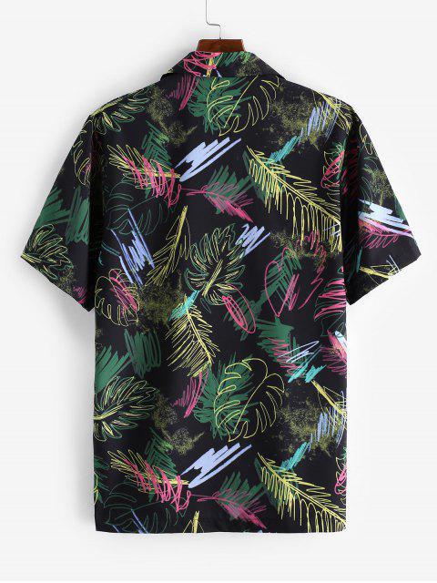 hot Short Sleeve Graffiti Leaf Print Button Casual Shirt - BLACK L Mobile