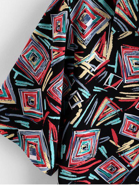 affordable ZAFUL Geometric Graffiti Print Button Shirt - MULTI L Mobile