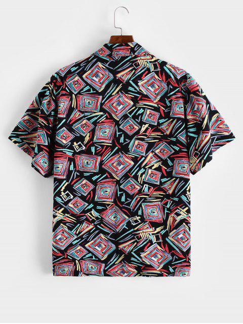 buy ZAFUL Geometric Graffiti Print Button Shirt - MULTI XL Mobile