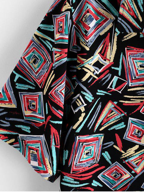 womens ZAFUL Geometric Graffiti Print Button Shirt - MULTI 2XL Mobile