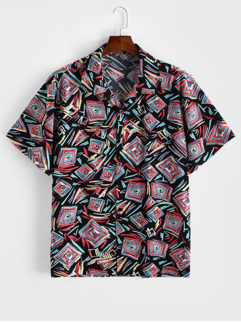 womens ZAFUL Geometric Graffiti Print Button Shirt - MULTI 2XL Mobile