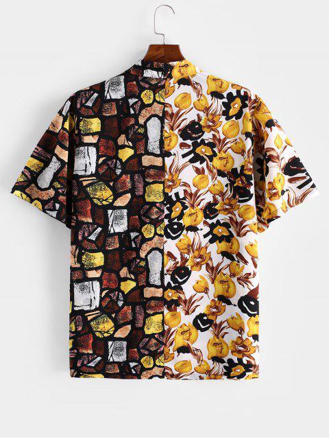 lady ZAFUL Flower Geometric Spliced Short Sleeve Button Shirt - MULTI XL Mobile