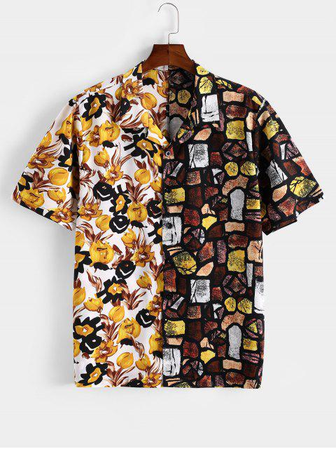 lady ZAFUL Flower Geometric Spliced Short Sleeve Button Shirt - MULTI XL Mobile