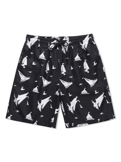 sale Ship Print Drawstring Casual Shorts - BLACK XL Mobile