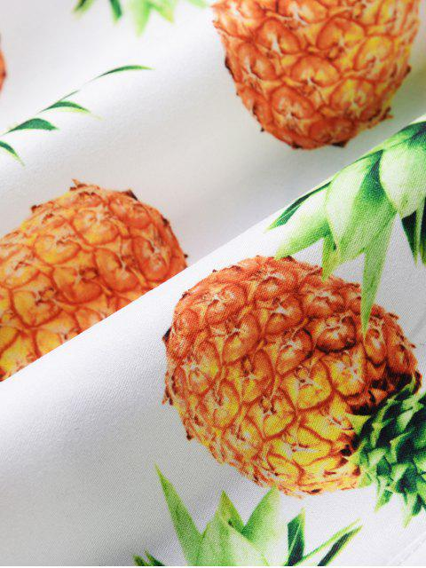 latest Pineapple Print Drawstring Causal Shorts - WHITE L Mobile