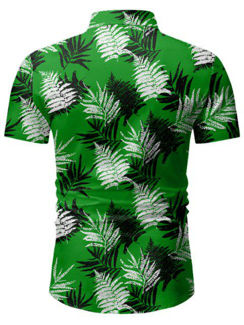 buy Leaf Print Button Up Short Sleeve Hawaii Shirt - DEEP GREEN 2XL Mobile