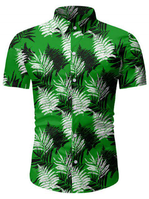 Leaf Print Button Up Short Sleeve Hawaii Shirt - 深緑 2XL Mobile