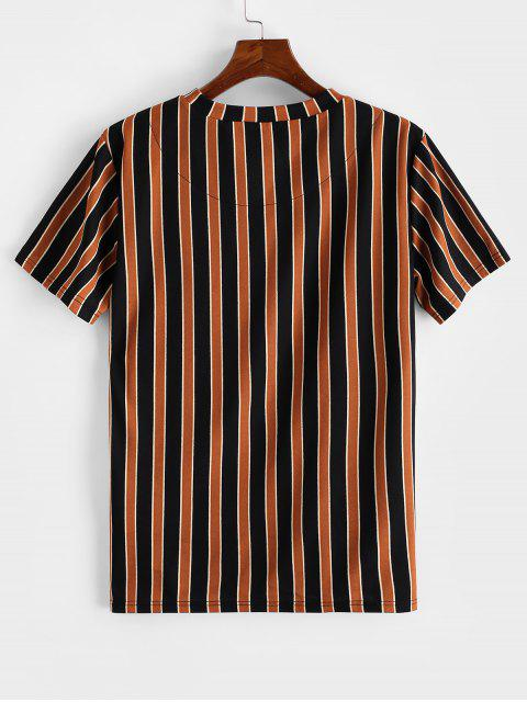 ZAFUL Camiseta a Rayas con Estampado de Color Bloque - Tigre Anaranjado S Mobile